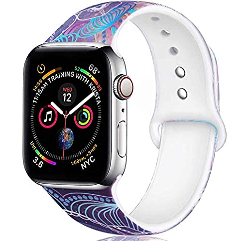 - 51EqiOwxIjL - Laffav Compatible with Apple Watch Band 40mm 38mm 44mm 42mm for Women Men, Soft Silicone Sport Pattern Band Replacement Strap for iWatch Apple Watch Series 4 3 2 1