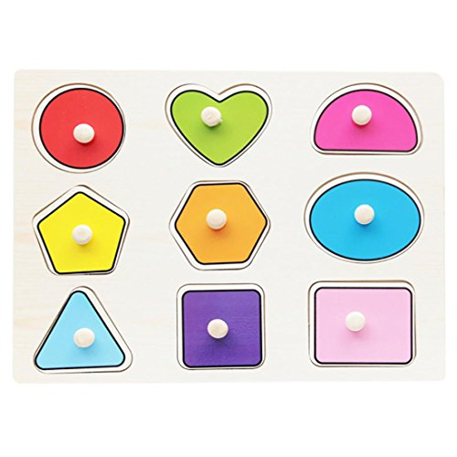 E-SCENERY Magnetic Wooden Peg Puzzle Set For Kids Baby Children, Early Educational Learning Building Blocks Puzzle Toy (Shape) ()