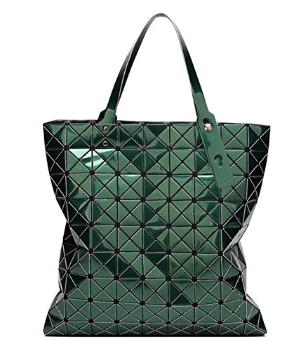 Kayers Sulliva Womens Fashion Geometric Plaid Tote Bag PU Leather Shoulder Bag Top-handle Handbags Large Green