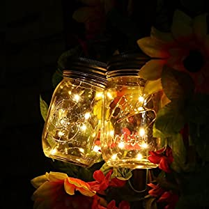 51Eqiaf8xyL. SS300  - Mason Jar Light Solar LED Glass Hanging Lamp Outdoor String Lantern Fairy Decoration for Home Party Garden Wedding