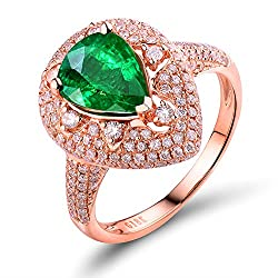 Rose Gold With Green Emerald Diamond Ring