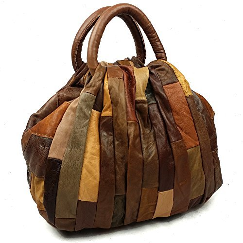 Vintage Patchwork Women Genuine Leather Handbag Soft Shoulder Bag (large, brown) ()
