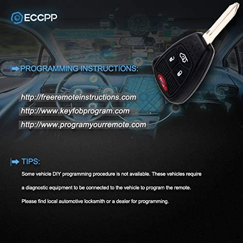 ECCPP Replacement for 10X 4 Button Replacement Uncut Keyless Entry Remote Key Fob for Jeep Dodge Series OHT692713AA