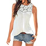 AOmahh 2019Women Summer lace Stitching Vest Top, Short Sleeve Blouse Casual Tank Tops T-Shirt White