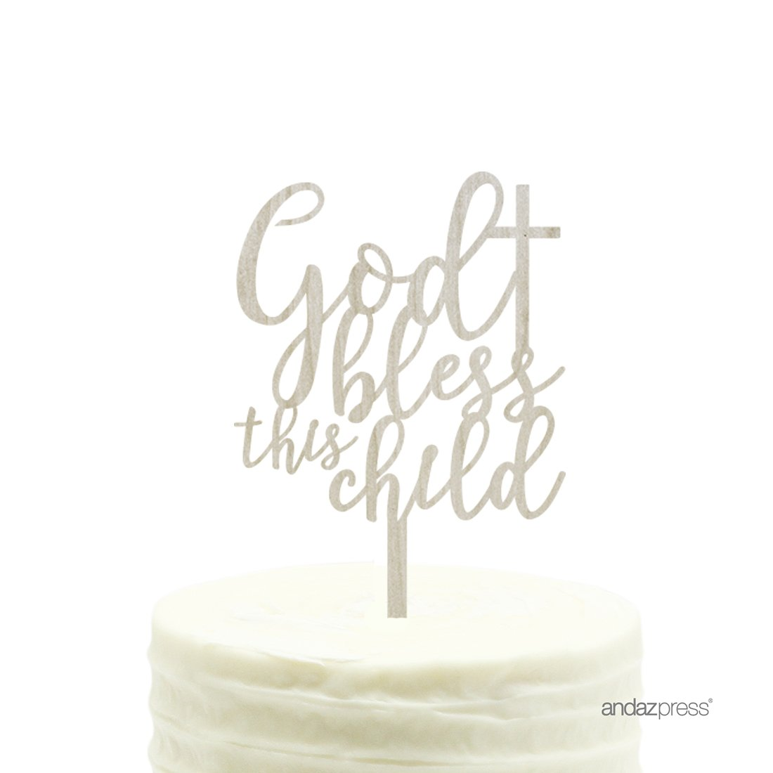 Andaz Press Baby Baptism Wood Cake Toppers, Bless This Child, 1-Pack