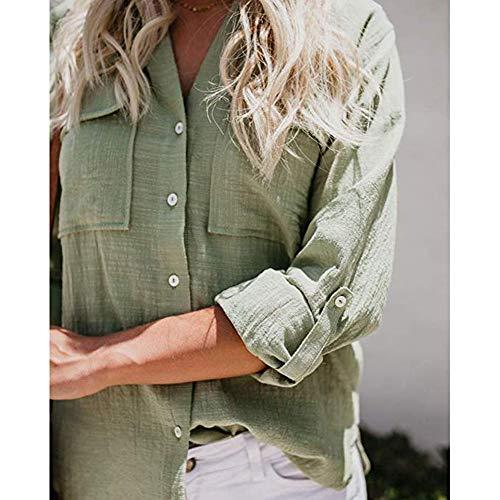 Couleur Manchette t de Shirt Femmes Bouton Mode lgant Vert Chemisier Chemisier Manches Chemise Cou dcontract Unie v zqE6AqP