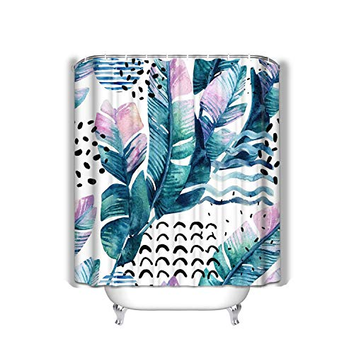 Xunulyn Beach Shower Curtain Art Tropical Leaves Doodle Grunge Textures Geometric Shapes 90s Minimal Style Abstract Summer Fabric Bathroom Decor 60 X 72 Inch -