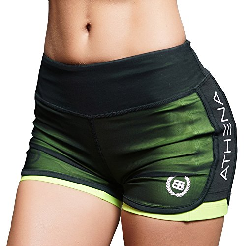 Women's Casual Gym Compression Running Shorts Fitness Workout Training Yoga Short Pants Green L Tag - America Shorts Womens
