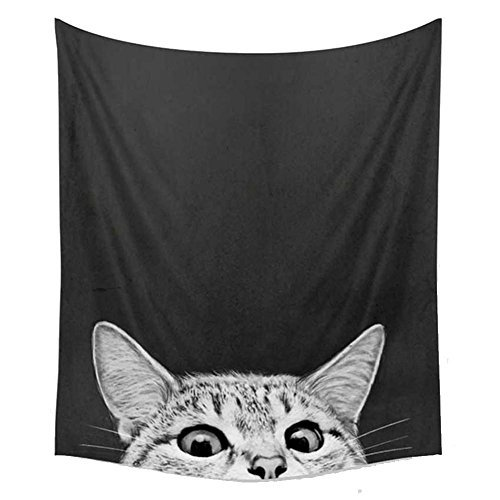 Tapestry Edge - Mexidi Tapestry Wall Hangings Wall Blanket Art Dorm Shawl Beach Towel Throw Tapestry Decor Bedspread Bedroom Living Kids Girls Boys Room Dorm Accessories 51x59inchs (Cat)