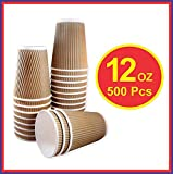 HOT BARGAINS 500 x Kraft 12oz Ripple 3 Ply Disposable Paper Cups for Tea Coffee Hot Drinks