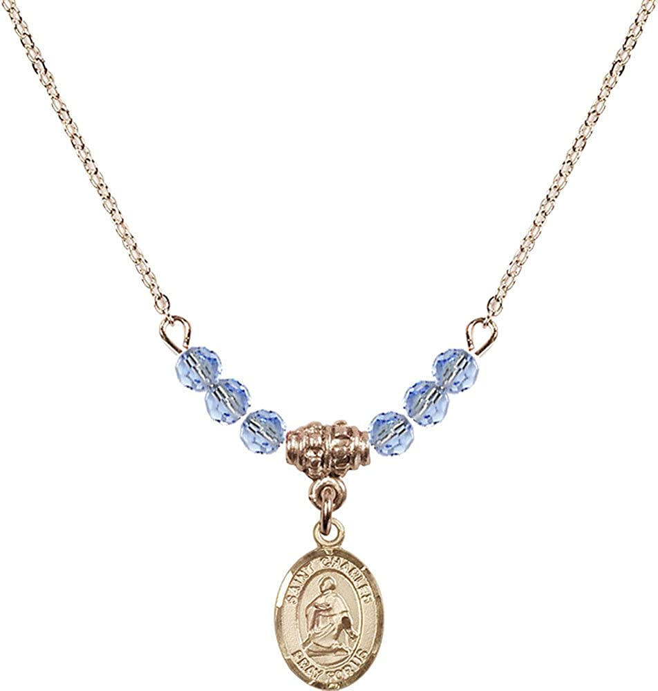 18-Inch Hamilton Gold Plated Necklace with 4mm Light Sapphire Birthstone Beads and Gold Filled Saint Charles Borromeo Charm.