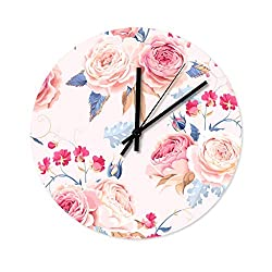 Peceeta Plant Flower 12 Inches Round Wooden Decorative Wall Clock Universal Colorful Living Room Home Decor Wall Clocks White 12x12 inch