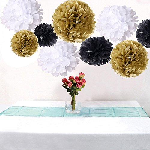 Pack of 18pcs Happy New Year Party Decorations Black White Gold Tissue Paper Pom Pom Paper Flower for Great Decorations/ New Year's Eve Party /Birthday Decorations/Bridal Shower Decorations … ()