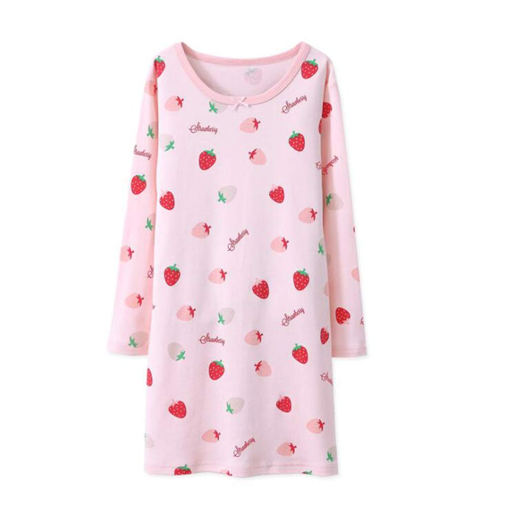 Rshop UK Girls' Nighties Strawberry Nightgowns 100% Cotton Sleepwear Toddler 3-12 Years