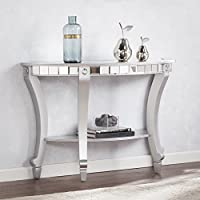 Harper Blvd Lindberg Glam Mirrored Demilune Console Table - Matte Silver