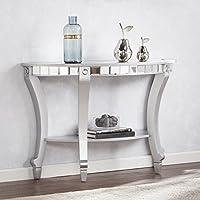 Harper Blvd Lindberg Glam Mirrored Demilune Console Table - Matte Silver
