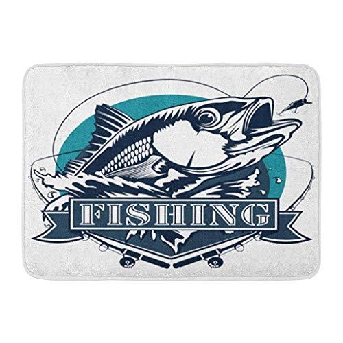 YGUII Doormats Bath Rugs Outdoor/Indoor Door Mat Fish Red Snapper Rods and Ocean Waves Fishing White Fisherman Bass Redfish Bathroom Decor Rug Bath Mat 16X23.6in (40x60cm) (Best Rod For Redfish)
