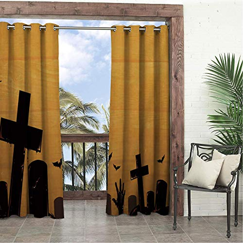 (Garden Waterproof Curtains Yellow Halloween Cemetery Porch Grommets Decor Curtains 120 by 108)