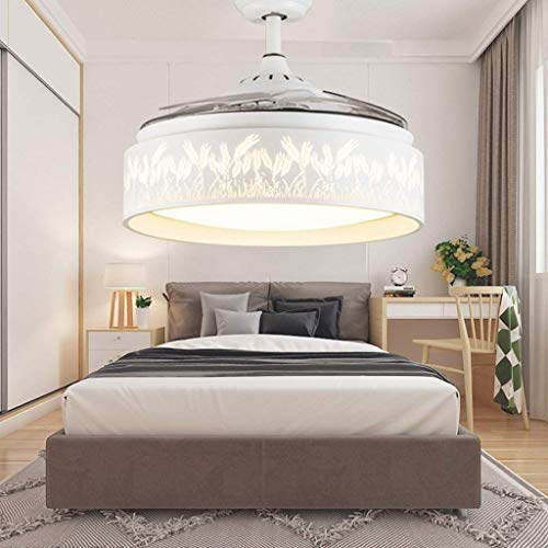 ChuanHan Ceiling Fan Light Chandelier Lightings Stealth in Living Room Bedroom Modern Contemporary and Simple with Marine World Ceiling Fan Chandelier Lamp, Trichromatic Light, Trichromatic Ligh