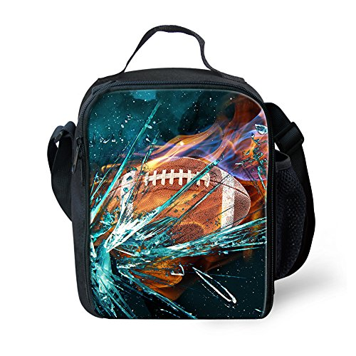 doginthehole Rugby Print Lunchbox Student Portable Travel Tote Insulated Lunch ()