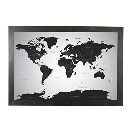 Push Pin Travel Maps Black Ice World with pins - Rustic Black Frame