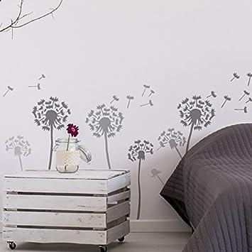Pissenlit  Flottant Graines Pochoir Mural Maison Dcoration Art