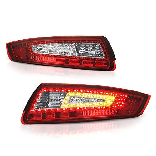VIPMOTOZ For 2005-2008 Porsche 997-Series 911 Carrera Red Lens LED Tail Brake Light Housing Lamp Assembly Driver and Passenger Side Replacement