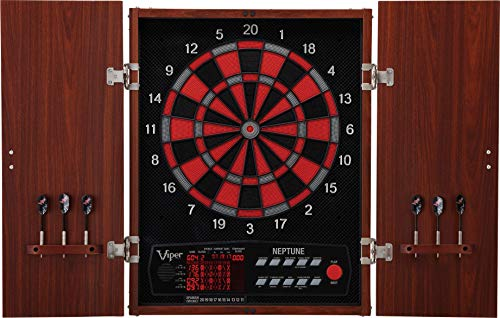 (Viper Neptune Electronic Dartboard, Classic Cabinet Door Style, Target Test Tough Segments For Lasting Durability, Extended Spanish Cricket Scoreboard For 4 Players)
