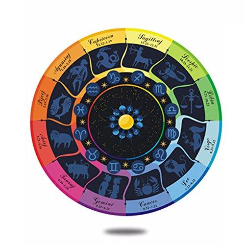 Rainbow Color Zodiac Sign Area Rug Round Carpet Horoscope Chair Mat Kid's Room Play Mat Floor Decor Fashion Home Decoration (39'')