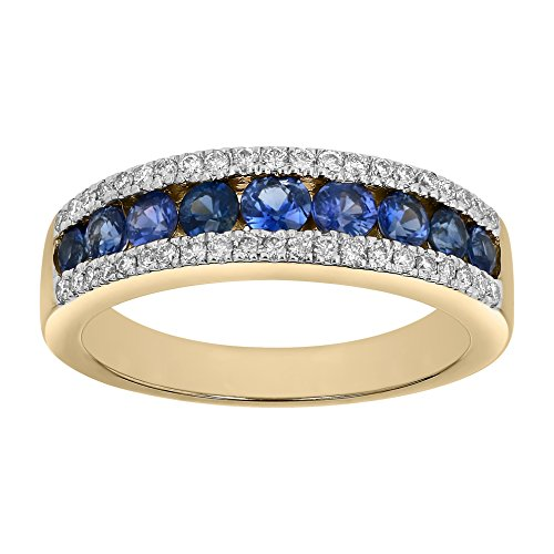 14k Yellow Gold 7/8 Carat TGW Blue Sapphire & Diamond Band Ring for Women (1/5 cttw, H-I, I1) Size 8 (Sapphire Color 14k Multi)