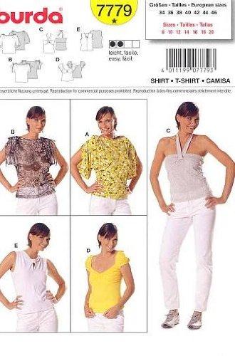 Amazon.com: Burda 7779 Misses\' Easy Top Sewing Pattern - T Shirt ...
