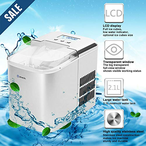 Stainless Steel Ice Maker Countertop 26LBS/24H LCD Display W/Scoop Portable by Generic (Image #3)