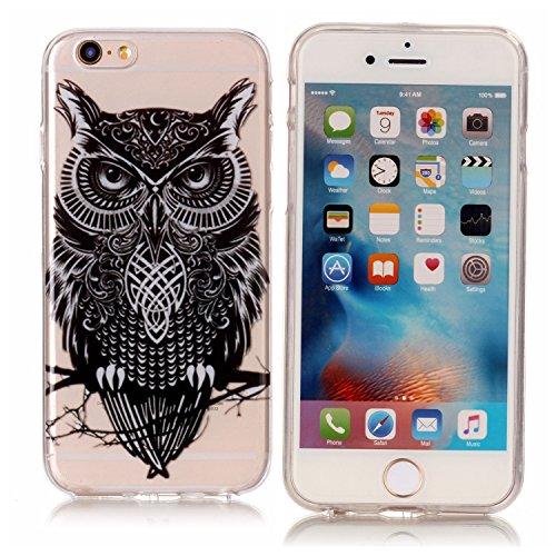 iPhone 6 / 6S Plus Case Custodia Cassa- Owl Nero Trasparente Custodia TPU Silicone Bumper Sottile Protezione Copertura Antiscivolo Resistente Modello Coperture Guscio per Apple iPhone 6 / 6S Plus