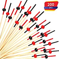 200 Pack Cocktail Picks 4.7 Inch Fruit Sticks Bamboo Toothpicks for Wedding Birthday Party Supplies (Red Black Set)