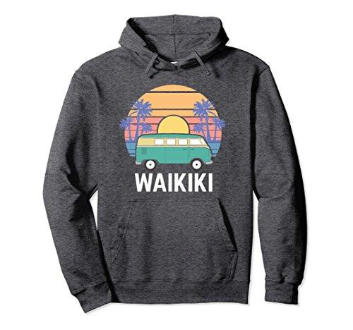 Unisex Hippie Van Hoodie, Hawaii Waikiki Road Trip Apparel Gift Small Dark Heather (Van Hippy)