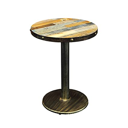 Tavolini Bar Vintage.Amazon Com Bar Tables Loft Vintage Iron Wood Round Table