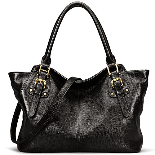 Jack&Chris Leather Shoulder Purses and Handbags for Women Large Tote Crossbody Bag, WB511C(black)