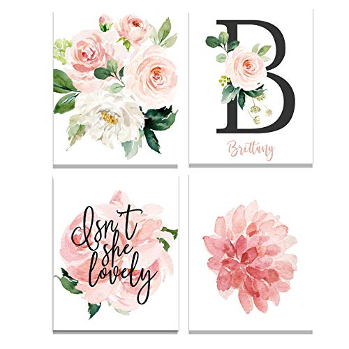 Personalized Floral Name Wall Art Prints - Perfect For Baby Girl Room Decor Pink and Blush