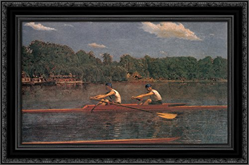 The Biglin Brothers Racing 24x18 Black Ornate Wood Framed Canvas Art by Thomas Eakins