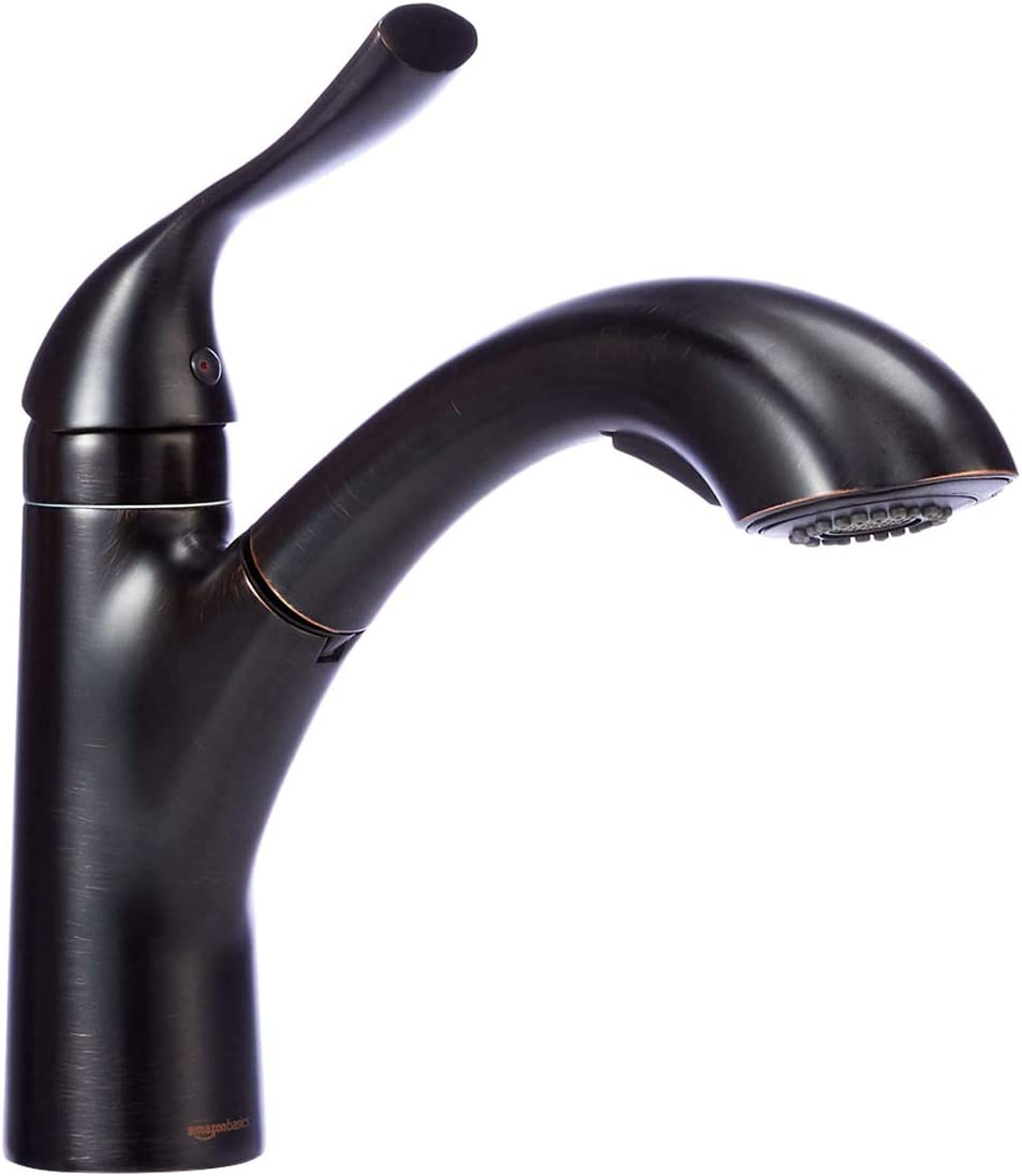 AmazonBasics Single-Handle Kitchen Pull Out Sprayer Faucet, Arched, Oil-Rubbed Bronze
