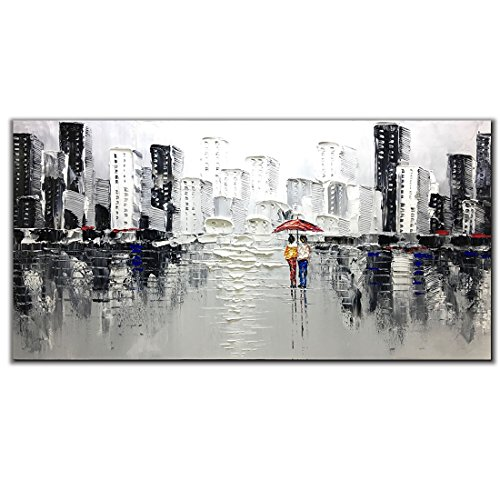 Fasdi-ART Hand painted Modern Textured Wall Art on Canvas Abstract Oil Painting Contemporary Cityscape Decor Picture for Living Room Bedroom Stretched Ready to Hang (Framed 48