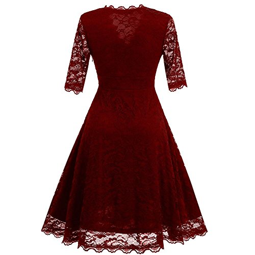 Byjia A Sera Retro V Con In Pizzo Dresses Red Abito Donna Da Cotta Scollo Cocktail KclFJ1