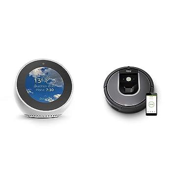 Echo Spot blanco + iRobot Roomba 960 - Robot Aspirador Óptimo Mascotas, Succión 5 Veces