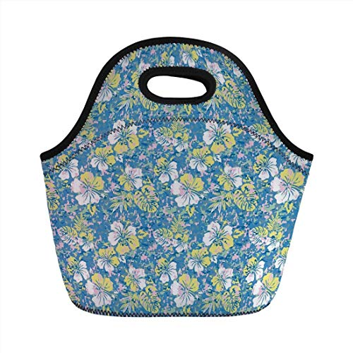 Portable Bento Lunch Bag,Camouflage,Hawaiian Pattern Exotic Tropical Hibiscus Flowers Foliage Abstract Nature Decorative,Blue Yellow Pink,for Kids Adult Thermal Insulated Tote Bags