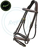 Royal Fancy Raised Bridle with PP Rubber Reins./ Vegetable Tanned Leather./ Brass Buckles.