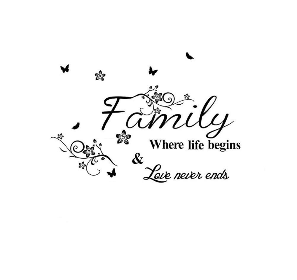 Family where life begins love never ends wall stickers home decal removable art diy sticker amazon com