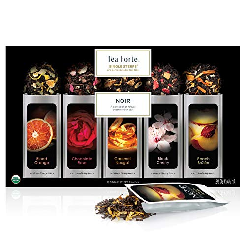 Tea Forté SINGLE STEEPS Noir Organic Loose Leaf Tea Sampler, Assorted Tea Variety Pack, 15 Single Serve Pouches - Strong Black Tea Blends