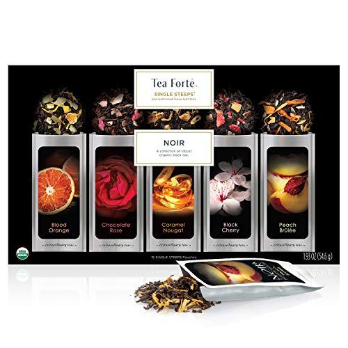 Tea Forte Single Steeps Noir Organic Loose Leaf Tea Sampler, Assorted Tea Variety Pack, 15 Single Serve Pouches, Strong Black Tea Blends Black Italian Favor Boxes