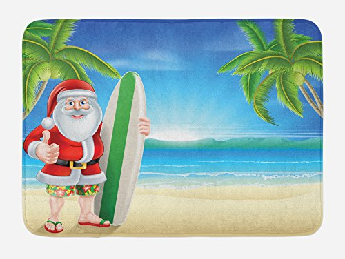 Ambesonne Christmas Bath Mat, Santa Claus with Trunks on The Beach and Surfboard Sunny Hot Christmas Theme, Plush Bathroom Decor Mat with Non Slip Backing, 29.5 W X 17.5 L Inches, Blue Green -
