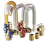"""This complete gas tankless water heater kit includes: 3/4"""" FNPT union x 3/4"""" FNPT high quality set of isolation valves (hot & cold) by RWV Corp, (1) 3/4"""" T&P pressure relief valve rated @ 200k - Max 500k BTU/HR, (2) 3/4"""" x 18"""" stainless steel..."""